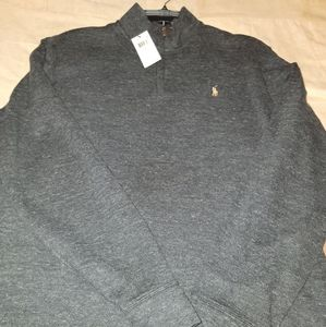 Black Heather Mid zip LARGE Polo pullover.